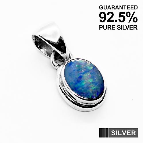 925 Sterling Silver Australian OPAL Gemstone Oval Pendant / Quality / Solid
