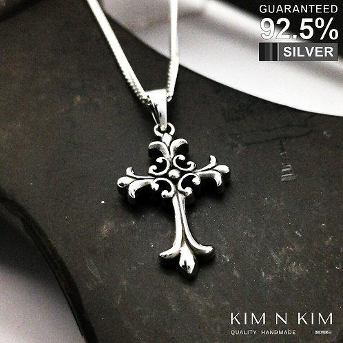 925 Sterling Silver Thick Fleur de Lys Heraldic Lily Cross Pendant Necklace