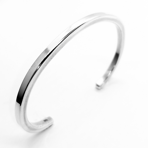 Plain Square Open Cuff Bangle / 925 Sterling Silver, Solid