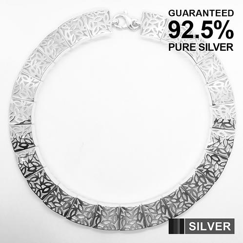 """18"""" Women's Heavy LEAF pattern Link Chain Necklace Choker / 925 Sterling Silver"""