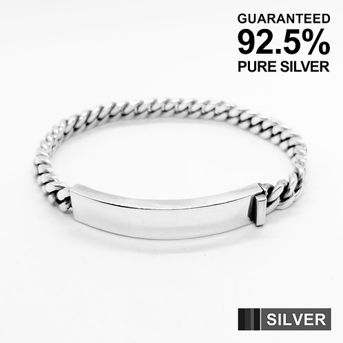 925 Sterling Silver Heavy Dense Curb Chain ID Bracelet / Solid / Quality