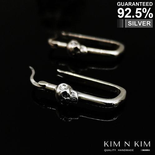 Skeleton Skull Hoop Earrings / Huggie Hoops / Gothic / Solid 925 Sterling Silver