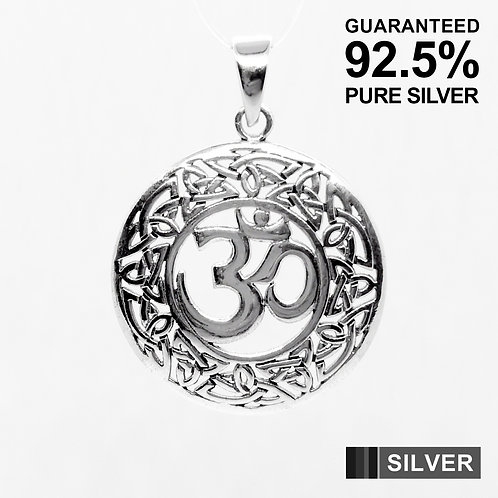 925 Sterling Silver Celtic Om Aum Circle Pendant / Solid / Oxidised