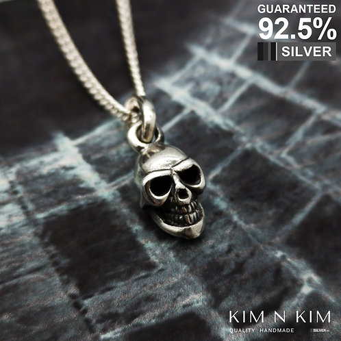 925 Sterling Silver 3D Smile Skull Pendant Necklace / Gothic / Solid / Quality