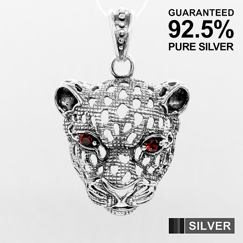 925 Sterling Silver 3D LEOPARD Mask With Red CZ Eye Pendant / Solid / Quality