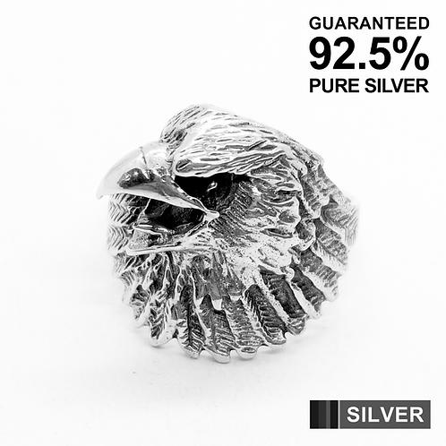925 Sterling Silver Hawk's Head Ring / Solid / Oxidised