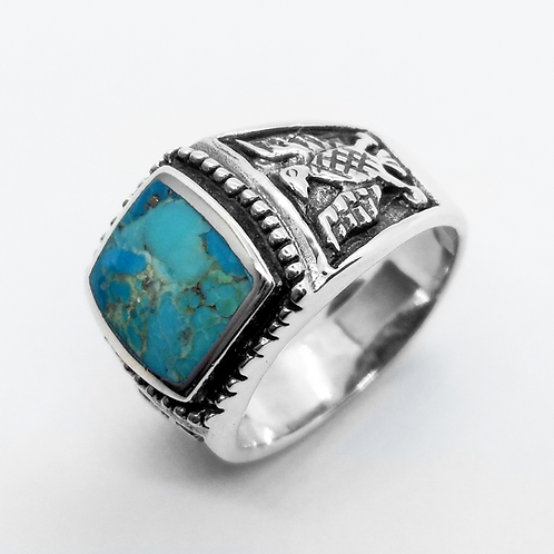 925 Sterling Silver Turquoise Hawk Ring / Quality / Solid