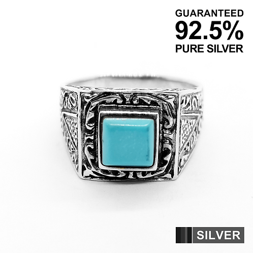 925 Sterling Silver Turquoise Filigree Ring / Solid / Oxidised