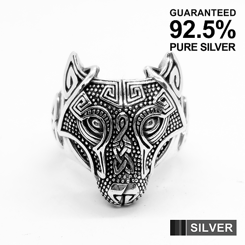 925 Sterling Silver Celtic Wolf Head Ring / Oxidised / Solid