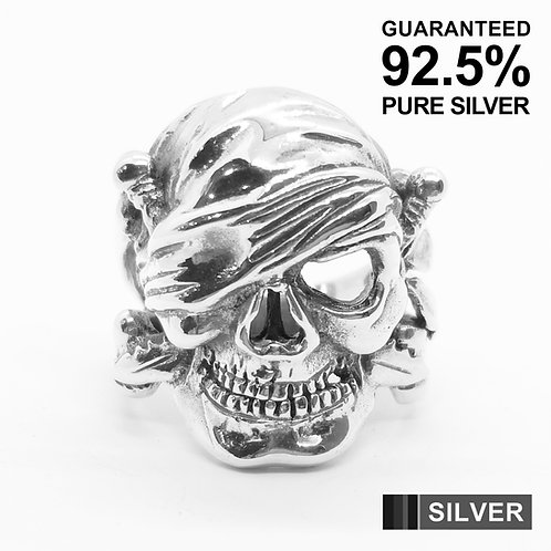 925 Sterling Silver Cyclops Pirate Skull Head Ring / Solid / Oxidised