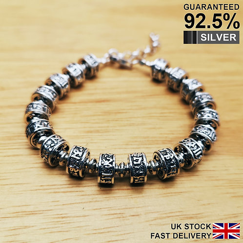 925 Sterling Silver Prayer Wheel Tibetan Om Mani Padme Hum Bracelet / Quality