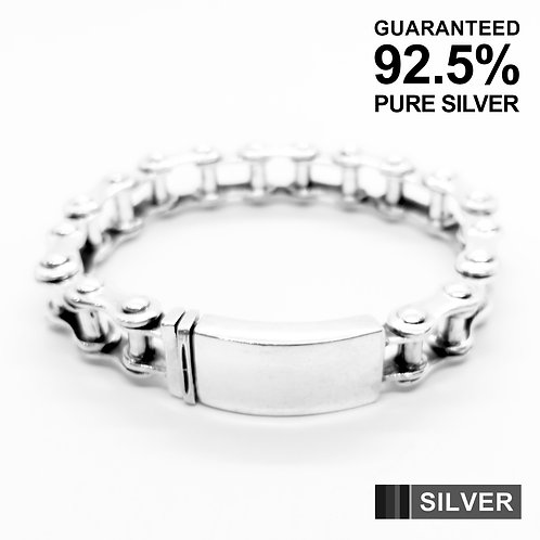 Sterling SilverBike Chain Link ID Bracelet / Quality / Solid / Heavy
