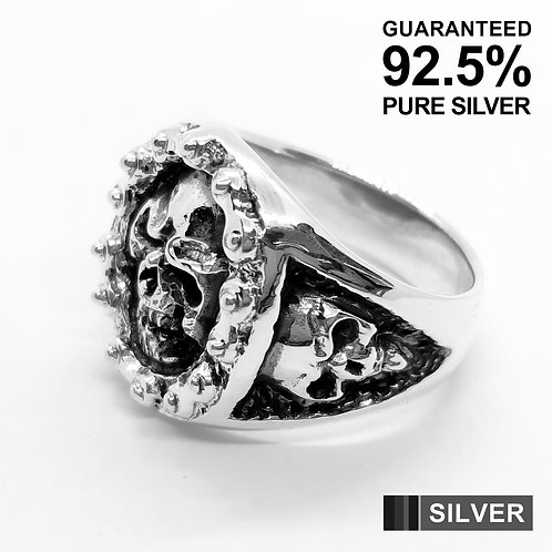 925 Sterling Silver Skull Head with Bike Chain Signet Ring / Quality / Solid