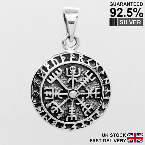 925 Sterling Silver Celtic Helm of Awe Vegvisir Norse Viking Compass Necklace