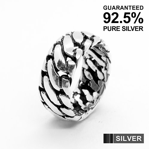 925 Sterling Silver Men's Tyre Tread Band Ring(10mm) / Solid / Oxidised