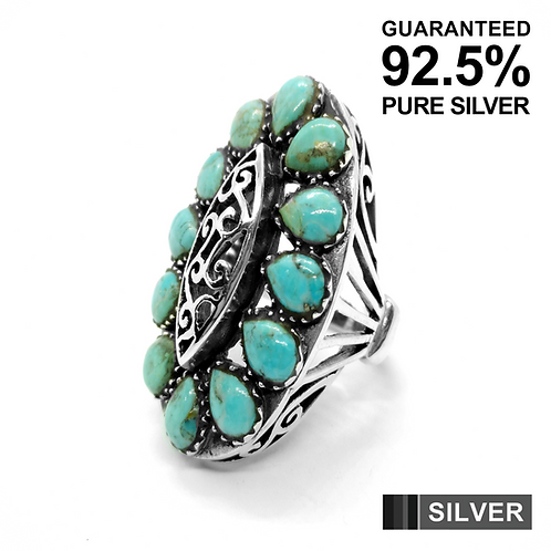 925 Sterling Silver Women's Oval Turquoise Stone Ring / Oxidised / Solid