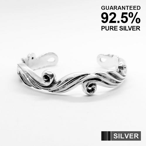 925 Silver Heavy SCROLL SWIRL WAVE Cuff bangle bracelet