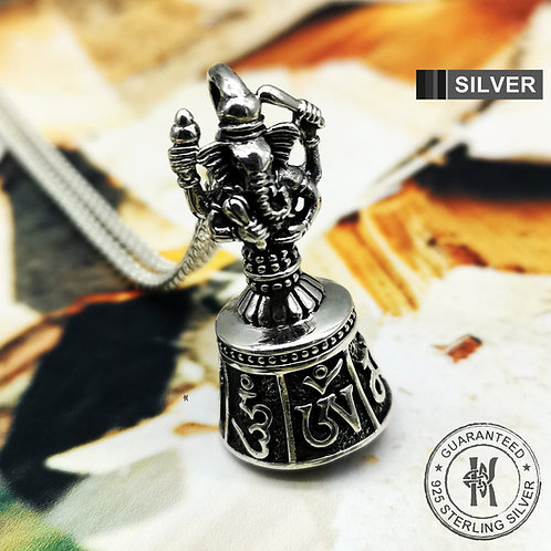 Ganesh Pendant Om Mani Padme Hum Mantra Chime Bell Good Luck Talisman/925 Silver