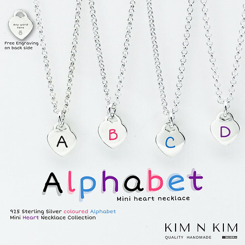 925 Silver Alphabet Mini Heart Necklace Personalised Gift for Kid Children Girl