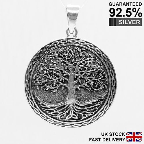 925 Sterling Silver Celtic Pagan Tree of Life pendant / Solid / Quality