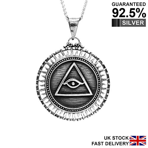 925 Sterling Silver Eye of Providence All Seeing Eye of God Pyramid Pendant