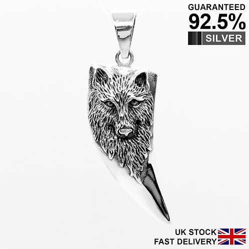 925 Sterling Silver Wolf Claw Horn Norse Viking Amulet Talisman Pendant /Quality