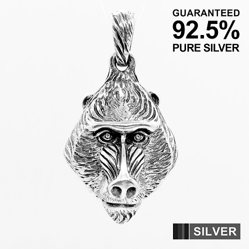 925 Sterling Silver 3D Baboon Monkey Pendant / Solid / Quality /Unique