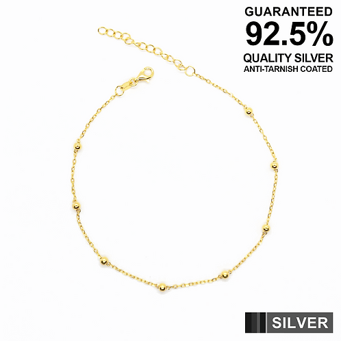 925 Silver Anklet with Ball Beads / Gold plated / Quality / Anti-Tarnish Coated
