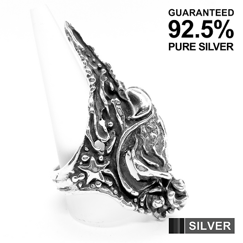 925 Sterling Silver Heavy Gothic Claw Ring / Limited Edition / Oxidised / Solid