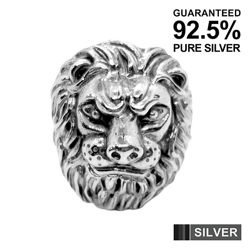 925 Sterling Silver 3D Lion's Head Ring / Oxidised / Solid