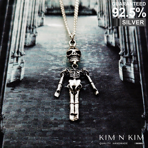 925 Silver Articulated Bones Skeleton Pendant Necklace / Gothic / Rock / Quality