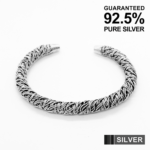 925 Sterling Silver Patterned HEAVY Wire Open Cuff Bangle /Solid /Oxidised