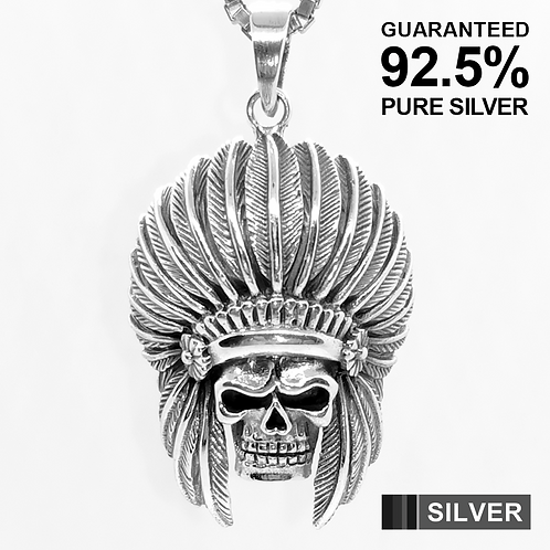 RED INDIAN CHIEF SKULL Pendant / 925 Sterling Silver, Blackened