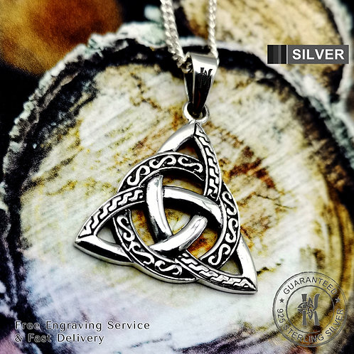 Celtic Knot Triquetra Trinity Pendant Necklace /Free Engraving /Solid 925 Silver