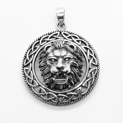 Lion Head Celtic Pendant / 925 Sterling Silver, Blackened, Solid