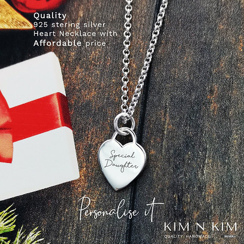 925 Sterling Silver Heart Necklace, Personalised with Engraving for a Woman Girl