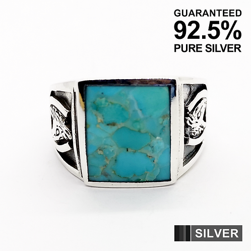 925 Sterling Silver Turquoise Stone Horse Shoe Ring / Solid / Oxidised