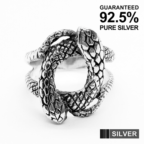 925 Sterling Silver Double Snake Gothic Ring / Solid / Oxidised