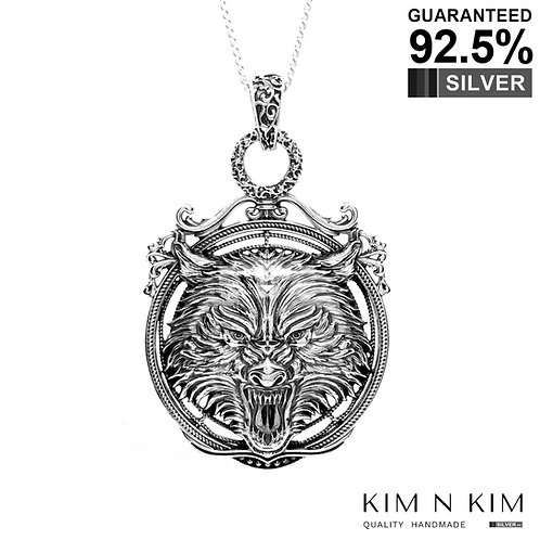 925 Sterling Silver Large Wolf Head Medallion Pendant / Solid / Exquisite Detail