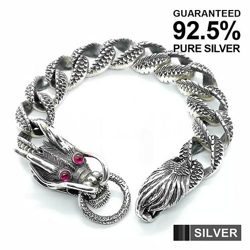925 Silver Men's Heavy Chunky Dragon Link Bracelet Bangle / Oxidised