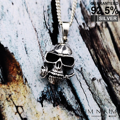 925 Sterling Silver Skull With Rose In Mouth Pendant Necklace / Solid / Quality