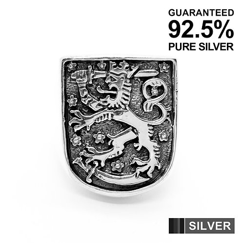 925 Sterling Silver Lion with Sword Knight Shield Ring / Quality / Solid / Heavy