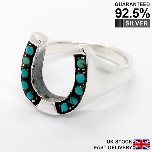 925 Silver Turquoise Gemstone Horseshoe Lucky Signet Ring / Quality / Solid