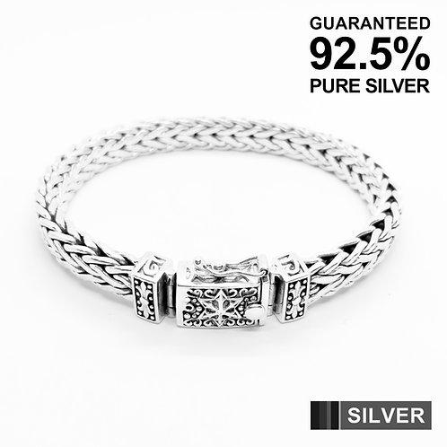 Sterling Silver Fleur De Lys Foxtail Wide link Bracelet / Quality / Solid / Heav