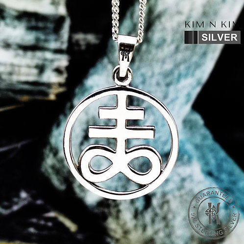 Leviathan Cross Satan's Cross Occult Sigil Pendant Necklace / Solid 925 Silver