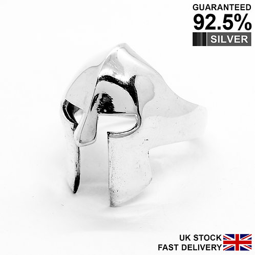 925 Silver 3D Ancient Roman Gladiator Greek Spartan Soldiers Warrior Helmet Ring
