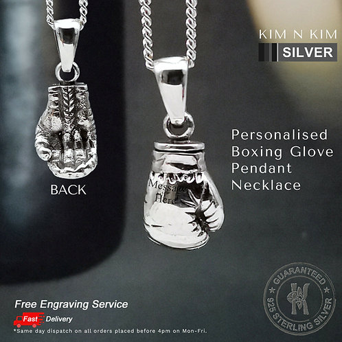 Personalised Boxing Glove Pendant Necklace / Free Engraving / Solid 925 Silver