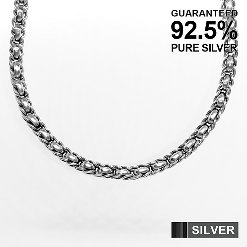 24.5 Inch 925 Sterling Silver Wheat Chain Necklace / Solid / Oxidised