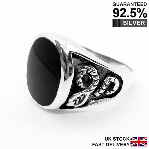 925 Sterling Silver Black Onyx Gem Cobra Snake Oval Signet Ring / Oxidised