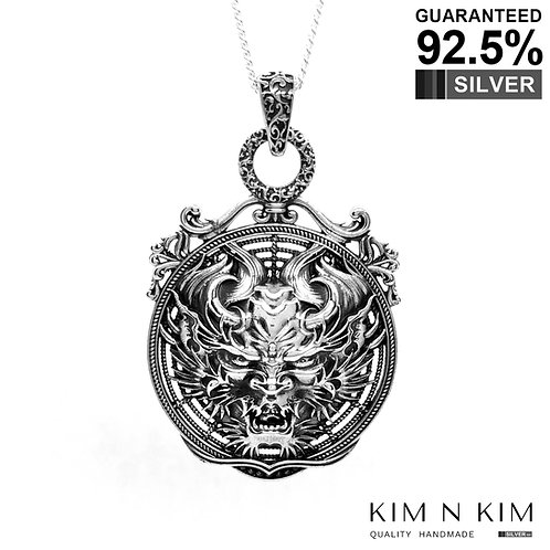 925 Sterling Silver Large Demon Head Medallion Pendant /Solid /Exquisite Detail
